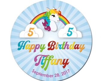 Custom Birthday Labels Unicorn With Rainbow For Children Girls Round Glossy Designer Stickers
