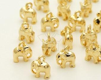 PD-1311-GD / 4 Pcs - Tiny Mini Elephant Charm Baby Elephant Pendant, Gold Plated over Brass / 6.2mm x 7.5mm