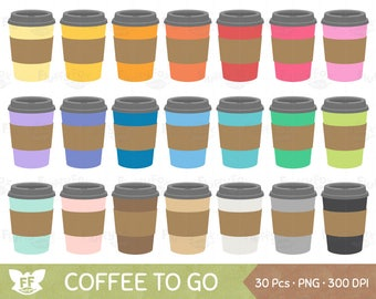 Coffee To Go Clipart, Coffees Paper Cups Clip Art, Rainbow Hot Morning Tea Beverage Drink Cute, PNG Graphic Download, Commercial Use