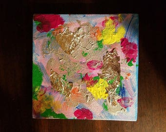 Abstract mixed media with metal leaf 4x4