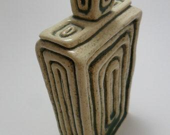 Vintage Vase Art Deco Retro Green GREENERY Textured 1980s Pottery Glazed Home Decor House Decor Unique