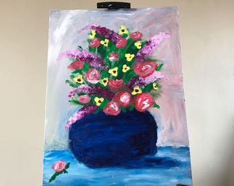The Blue Vase 16x12 acrylic finger painting