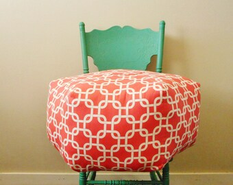 Large Pouf Ottoman in Coral Fabric, Foot Stool, Round Floor Pillow