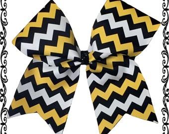 Chevron three color cheer bow