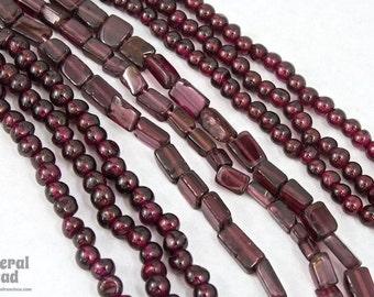 """5mm Rectangular Garnet Beads on 14"""" Strand #3371"""