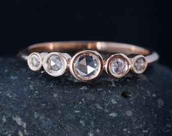 Rose Cut Diamond Ring - Round Diamonds - Anniversary Wedding Band