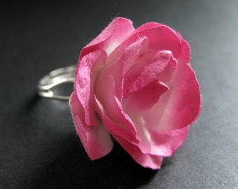 Pink Paper Flower Ring. Dyed Paper Rose Ring. Pink Flower Ring. Adjustable Ring in Silver. Handmade Jewelry.