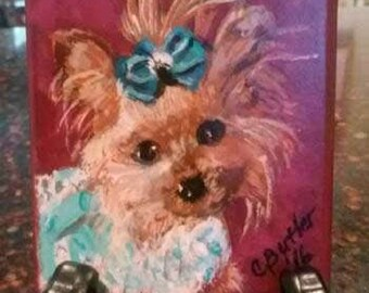 Custom pet ACEO, your pet on ACEO magnet ,art trading card,collectible art,small art, acrylic on wood