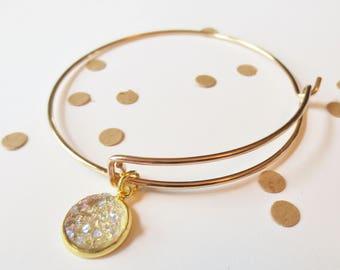 Adjustable Bracelet for Bridesmaids, Champagne and Gold, Gold Bracelet, Bangle Bracelet, Charm Bracelet, Druzy Stone Bracelet