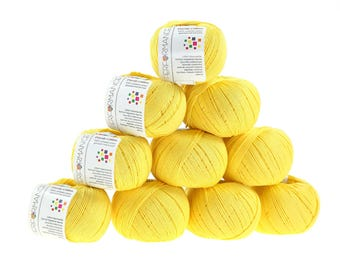 10 x 50g knitted yarn Dainty cotton, #179 Yellow