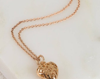 Rose Gold Filigree Loveheart Necklace