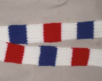 Handmade knit Scarf - Red, White, and Blue