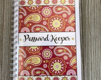 Alphabetical Internet Password Organizer with Divider Tabs - Pink Paisley Design