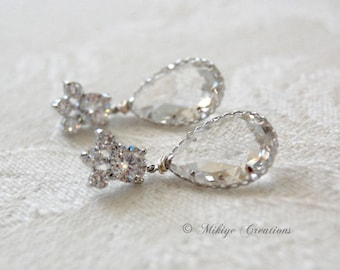 Wedding Jewelry, Wedding Earrings, Bridal Chandelier Swarovski Crystal Cubic Zirconia Drop Earrings -E126