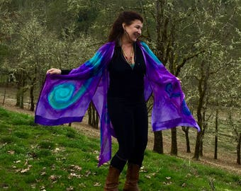 Ultra Violet and Turquoise Spiral Hand Painted Silk Ruana, Wedding Shawl for MOB, MOG, Travel Accessory, One of a Kind, Made in USA