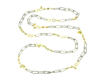 Multi Color Zircon, Oxidized Sterling Silver, and Gold Circle Chain Long Necklace