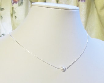 6mm Floating Pearl Necklace with Swarovski and Sterling Silver