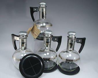 4, Inland Glass Works, Coffee, Carafe, Platinum, Mid Century, Modern, Home Decor, Silver, Gift, Birthday Gift, Home Décor, Housewarming Gift