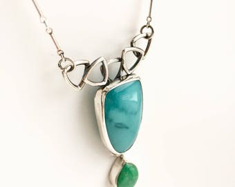 Two stone necklace, rare blue opalized petrified wood and variscite pendant, sterling silver necklace, metalsmith jewelry , one of a kind