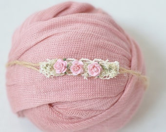 Newborn stretch knit wrap and pink rose tieback set photography prop pink
