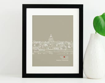 Madison Skyline Art, Chicago Skyline, Personalized Madison Art, Madison Wedding Gift, Anniversary, Wisconsin, Engagement Gift - 8x10 Print