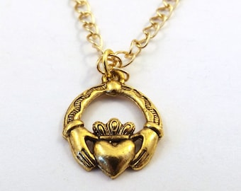 Gold Tone Pewter Claddagh Charm on a Gold Tone Link Chain Necklace  - 1787