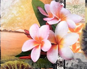 ISLAND STYLE, Giclee, 8x8 and Up, Hand Signed, Surfing, Vintage, Rustic, Surf Art, Hawaiian Art, Plumeria, Hawaii, Green Room, Travel