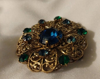 Vintage Czech Signed Czechoslovakia Brass Filigree Blue and Green Glass Crystal Brooch