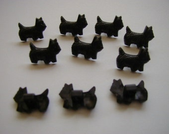 10 Black Dog Buttons