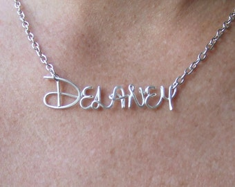 Disney Name Necklace, Personalized Disney Jewelry, Disney Gift, Custom Name Jewelry Gift, Disney Gifts for Girls, Silver Personalized Name