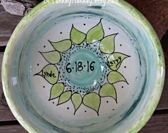 Mariage personnalisé bol xlarge pop-corn bol mélange bol mariage cadeau personnalisé bol à mélanger avec la mère d'anniversaire 9 noms four poterie cuite