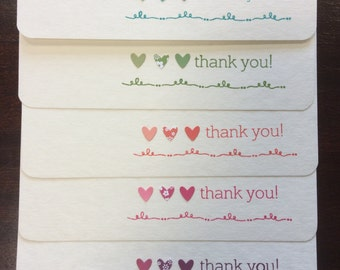 Thank you cards set - wedding, bridesmaid, birthday, baby shower bulk thank you cards pack - cute hearts in pink, coral, purple, teal, green
