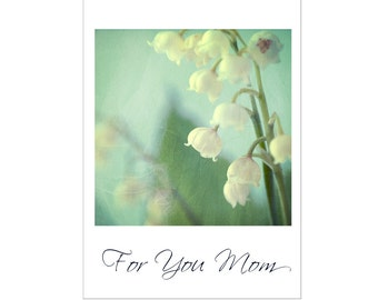 Card for Mother, Lily of the Valley Card, Flower Greeting Card, For You Mom, Blank Photo Card