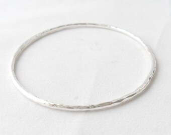 Sterling silver textured stacking bangle, high polished finish with full UK hallmark