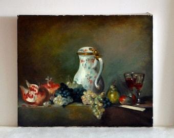 French oil painting still life twentieth grape wine