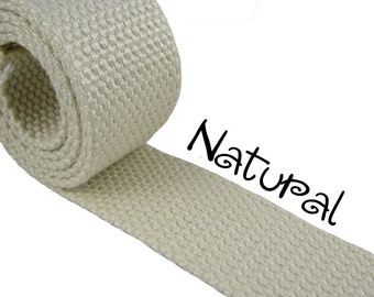 """Cotton Webbing - Natural - 1.25"""" Medium Heavy Weight for Key Fobs, Purse Straps, Belting - SEE COUPON"""