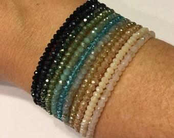 Crystal stretch bracelet, sparkle bracelet, stretch bracelet, minimalist bracelet, stacking bracelet, cuff bracelet