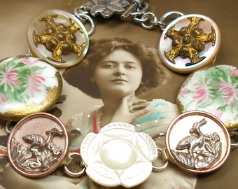 """French Garden Antique BUTTONs bracelet. Victorian Flowers on sterling silver, 7.5"""" one of a kind jewellery."""
