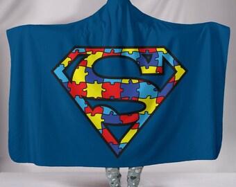 Superman Autism Hooded Blanket