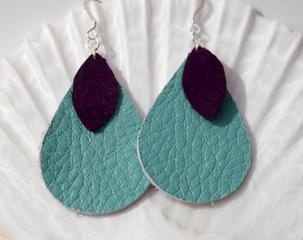 Teal and Purple Leather Earrings | Leather Earrings | Teal and Purple Earrings