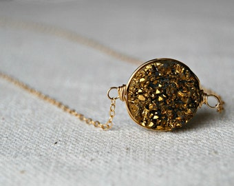 goldmine... gold druzy necklace / golden druzy round quartz & 14k gold filled necklace / drusy