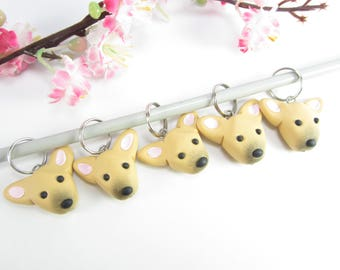 Formosan Mountain dog stitch markers, Formosan dog gift charms polymer clay knitting accessories dogs charm pet lover gift knit knitters