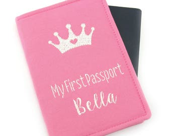 Personalized Pink Girls Baby Kids My First Passport, Passport Holder, Passport Wallet, Passport Cover, Travel Gift