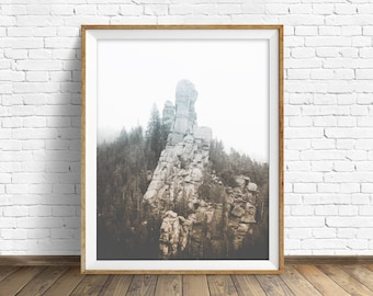 """landscape photography, digital photography, instant download printable art, black and white, large wall art, art prints - """"Monolith No. 1"""""""