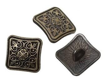 6 buttons square bronze 1.3 cm DECORATION