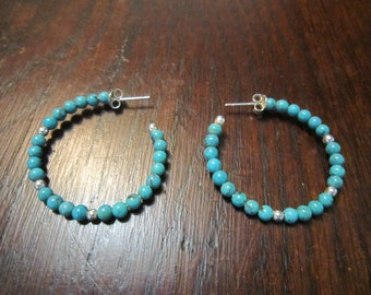 Turquoise and Sterling Large Hoops