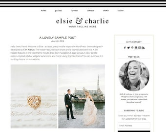 "Wordpress Theme Premade Blog Template Design - ""Elsie & Charlie"" Instant Digital Download"
