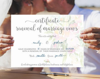 Vow renewal certificate, Marriage certificate, vow renewal sign, renew vows certificate, renewal of marriage, marriage renewal, vows renewal
