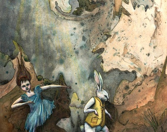 Down The Rabbit Hole from Alive in Wonderland (limited edition prints) by Kirsty Greenwood.