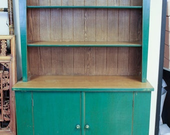 Vintage Chinese 2-Door Cabinet with Bookcase